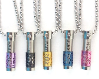 Essential Oil Diffuser Necklace, kids diffuser necklace Petite stainless steel vial, essential oil necklace carrier to hold oils
