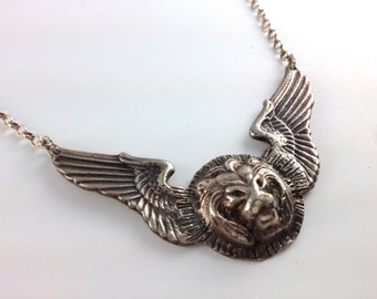 Winged Lion Necklace, Sterling Silver