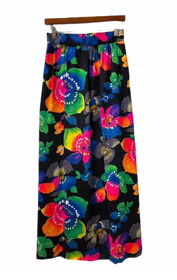 VINTAGE 70s Floral Psychedelic Maxi Skirt Festival