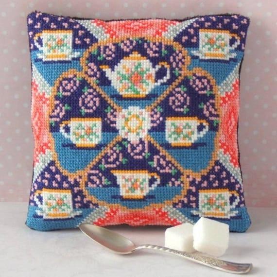 Sheena Rogers Designs Time for Tea Mini Cushion Cross Stitch Kit