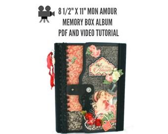 """8 1/2"""" x 11"""" Mon Amour Scrapbook Album PDF and Video Tutorial"""