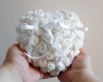 Ring bearer pillow alternative with white roses, Romantic ring holder in white