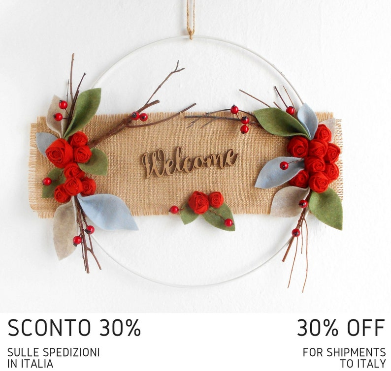 Modern farmhouse wreath Welcome sign with flowers twigs and leaves White metal hoop Minimal entry decoration