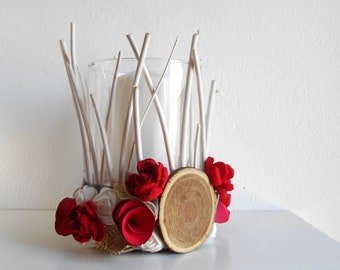 Farmhouse CANDLE HOLDER with flowers, wooden holder for candles, cottage decor accessories