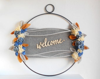 WELCOME DOOR WREATH with wood sign, modern farmhouse front door decoration, nordic minimal style