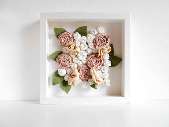 Ikea Ribba Frame Girl Room Decoration With Fabric Flowers Etsy