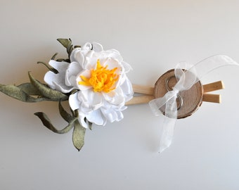 WEDDING RING HOLDER alternative with a fabric flower, Romantic rustic ring pillow alternative, country ring wood box