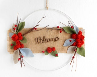 Modern farmhouse wreath Welcome sign with flowers, twigs and leaves White metal hoop Minimal entry decoration