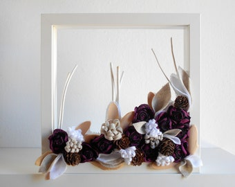 3D wall flowers in Ikea Ribba white frame, minimalist framed 3D art with roses twigs and pine cones