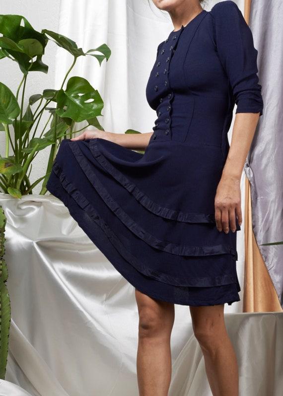 1940s// Navy Wool Rayon Crepe Flare Dress// XS