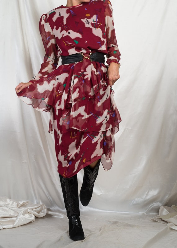 1980s// HANAE MORI// Burgundy Abstract Print Silk