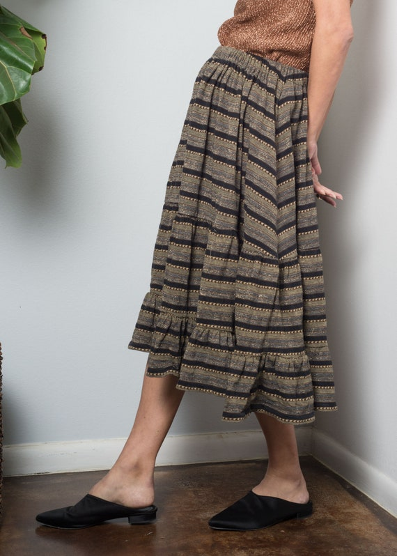 1970s// KENZO// Lurex Shimmer Jersey Tiered Skirt… - image 3