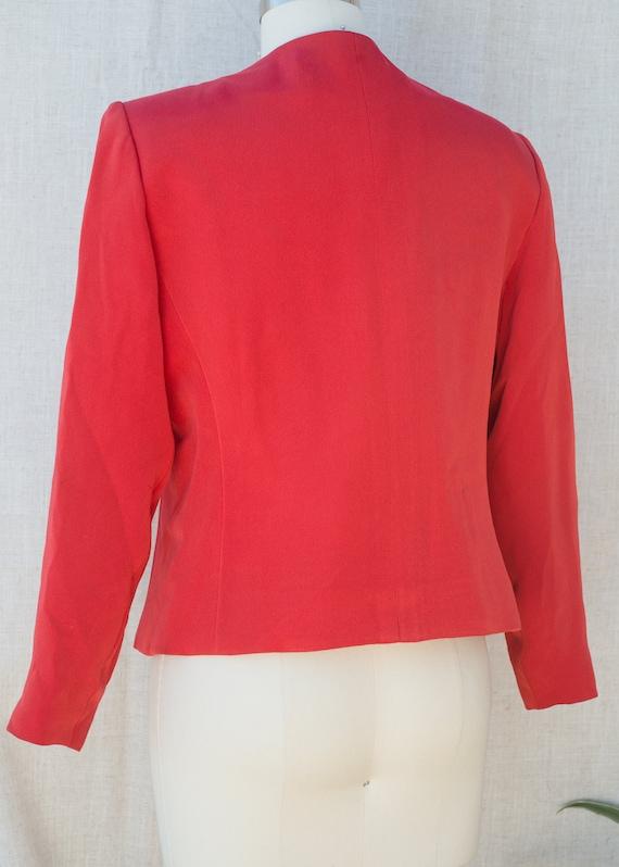 SAINT Crepe Rive Crop Blazer LAURENT YVES 1980s Red Gauche 5vwFFq