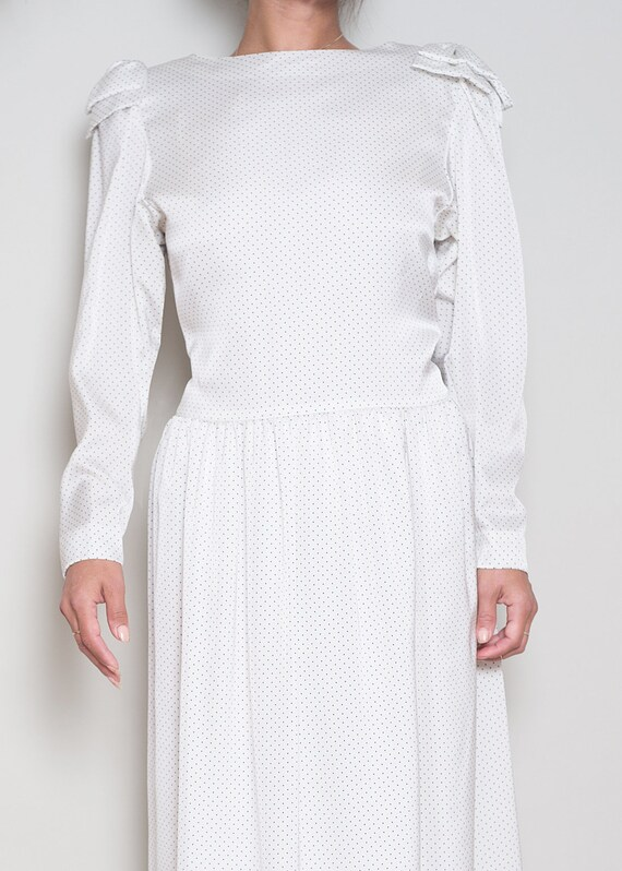 1980s Dot HANAE Dress M Polka Shoulder MORI L Mini Bow fZqfr