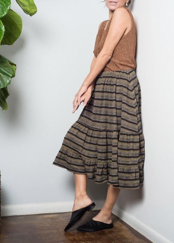 1970s// KENZO// Lurex Shimmer Jersey Tiered Skirt… - image 5