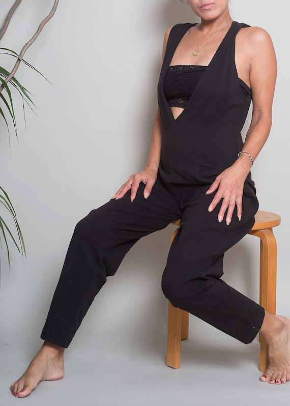 1980s// Black Stretch Unitard Jumpsuit// Med