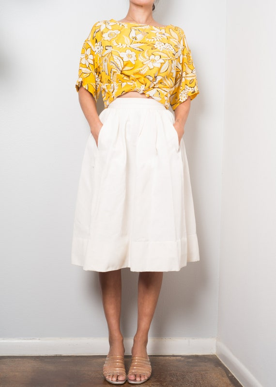 1980s// NORMA KAMALI Yellow Pop Floral Boxy Crop T