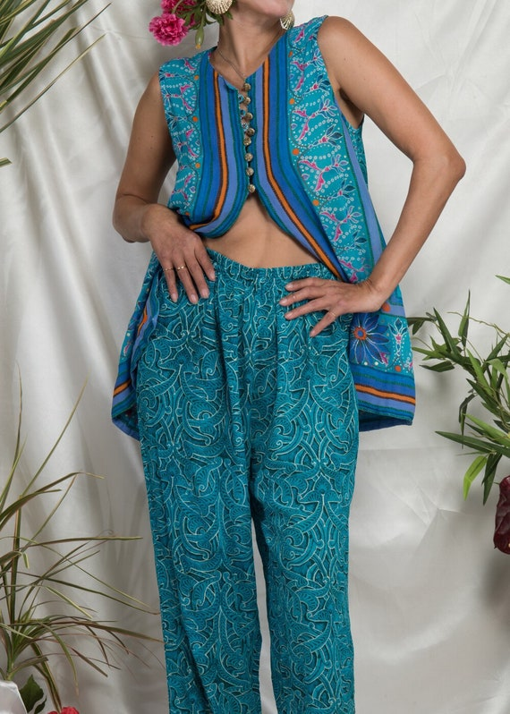 1990s// GOTTEX// Tropical Floral Top and Beach Pa… - image 2