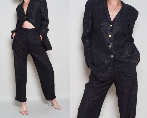 1990s// ESCADA Margareta Ley// Black Jacquard Dres