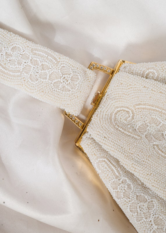 1950s// SAKS FIFTH AVENUE// French Beaded White Br