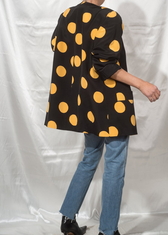 1980s DAVID HAYES Exaggerated Polka Dot Silk Jacket M L