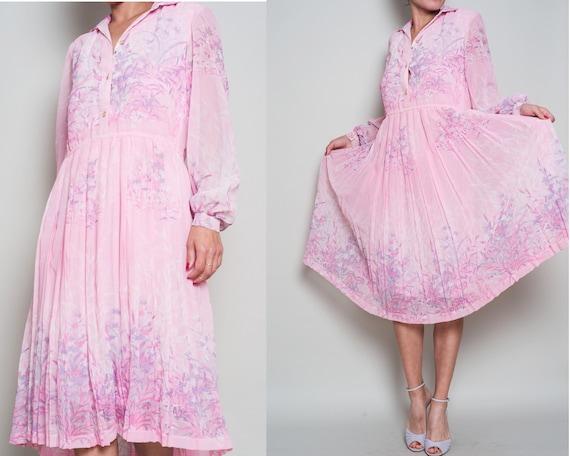 1970s// Pink Pleated Floral Chiffon Midi Shirt Dre