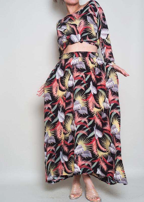 1980s Set NORMA M Floral Dress Top Tropic Skirt S Print KAMALI BBrwdq48