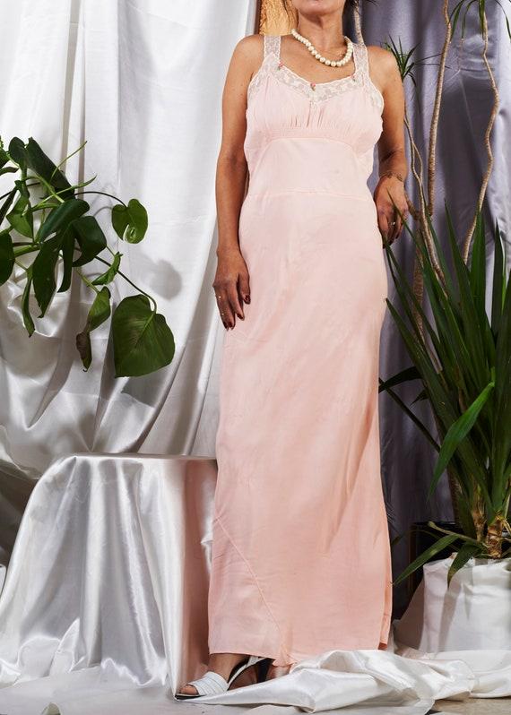 1970s// Pink Bias Lace Trim Nightie Slip Dress// S