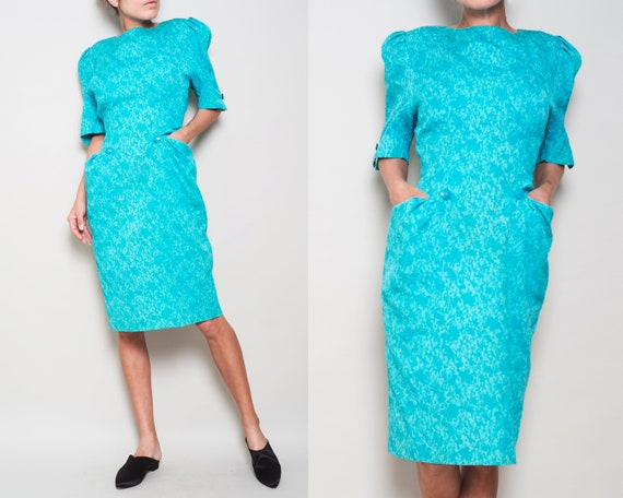RICCI 1980s NINA Boutique Jacquard Dress Puff Pocket Sleeve M Cotton 45ZqwP5