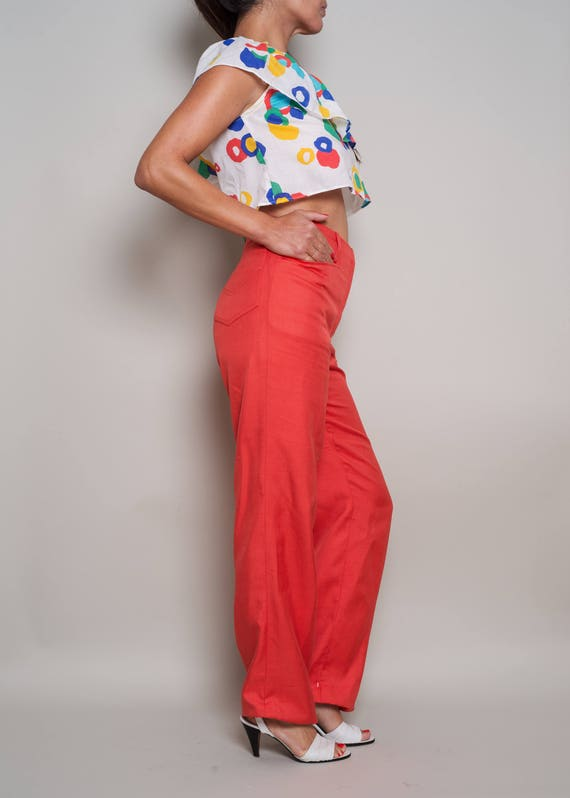 DIOR Red CHRISTIAN Raw 27 1980s Trousers Silk 1990s Colifichets wHyaF
