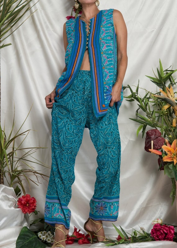 1990s// GOTTEX// Tropical Floral Top and Beach Pa… - image 5