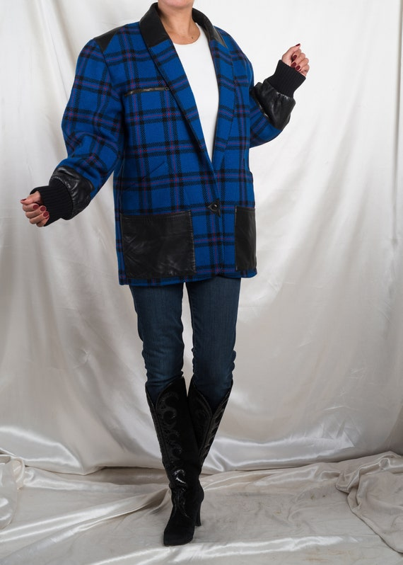 1990s// COMPLICE Italy// Blue Plaid Wool & Leather