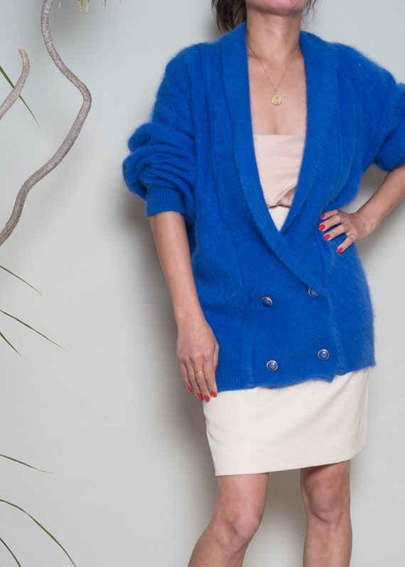 Cardigan Angora Electric V Blue neck Deep M 1990s Blend Sweater qxv1Hw077