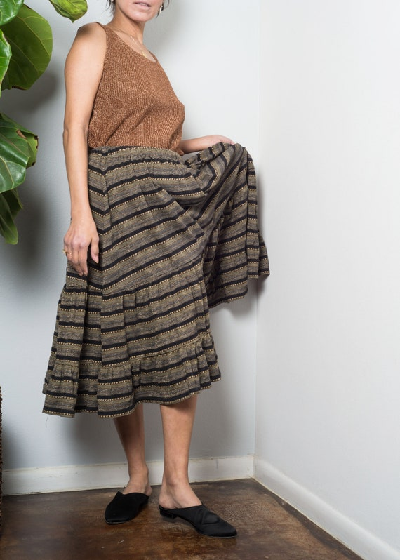 1970s// KENZO// Lurex Shimmer Jersey Tiered Skirt… - image 6