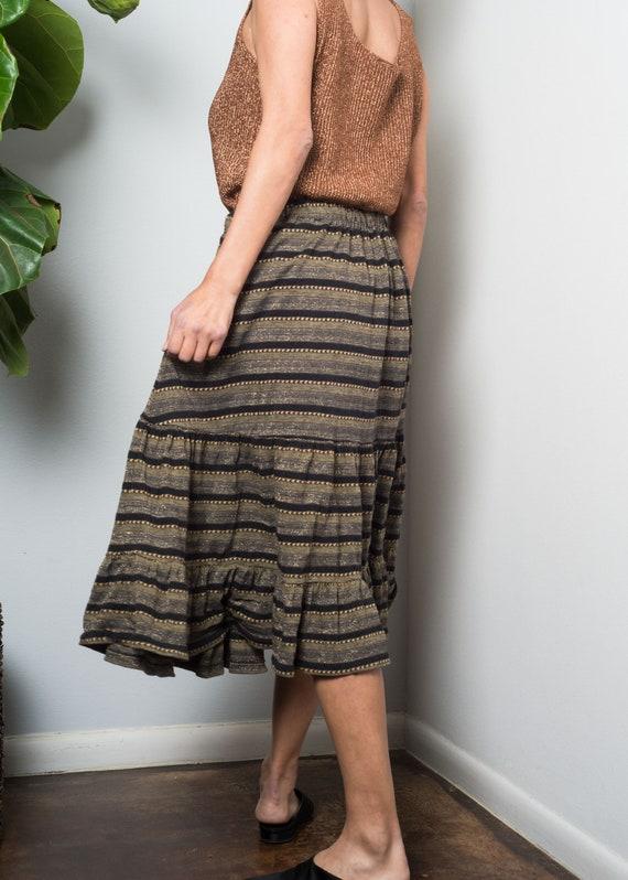 1970s// KENZO// Lurex Shimmer Jersey Tiered Skirt… - image 4