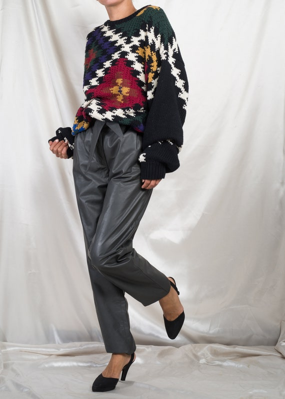 1980s// PERRY ELLIS// Abstract Argyle Oversize Cot
