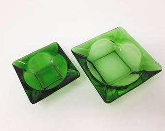 Set of 2: 1970s Vintage Apple Green Ashtrays in Varying Sizes