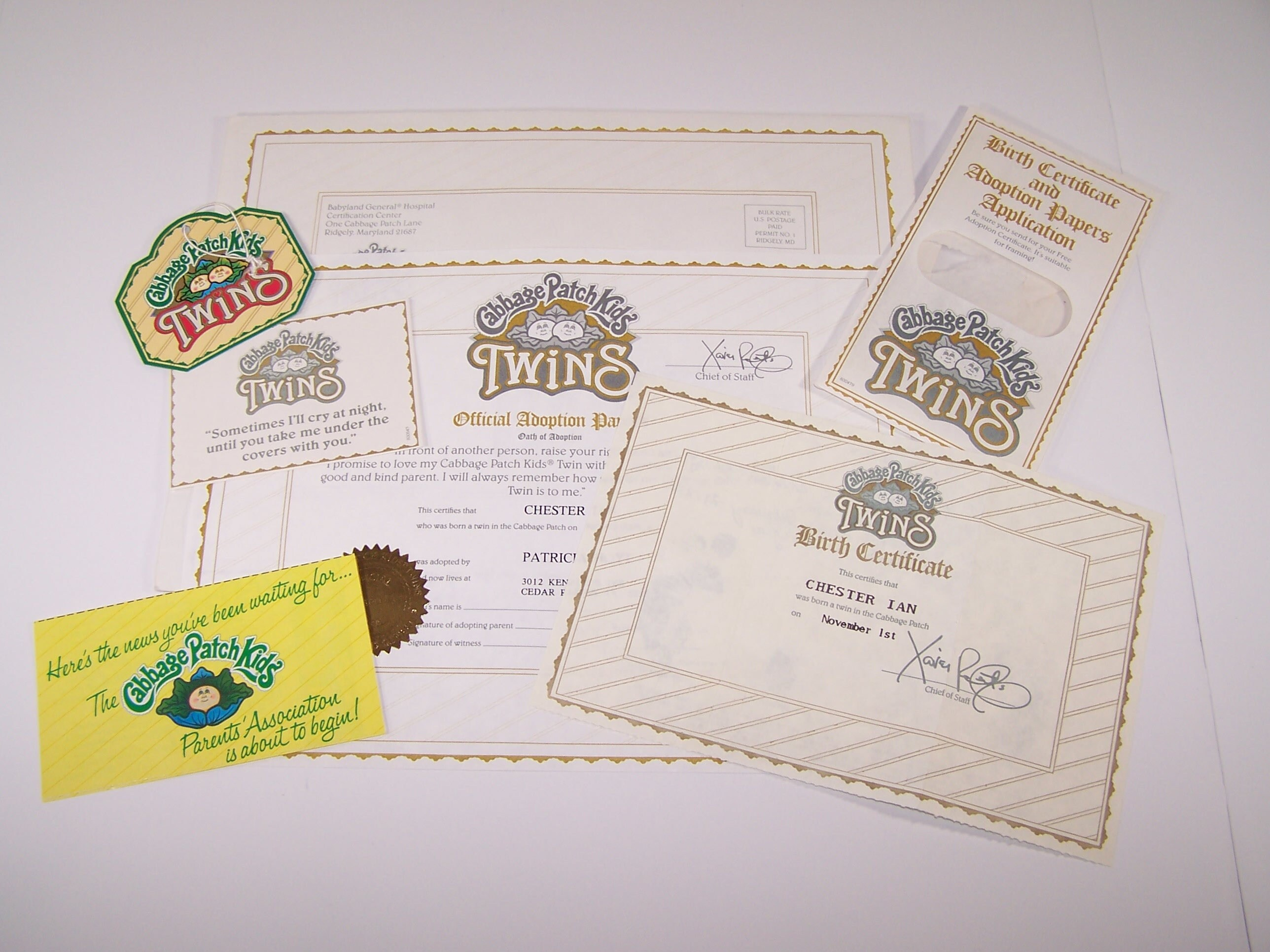 Authentic Cabbage Patch Kids Birth Certificate Footprints - Twin Chester Ian