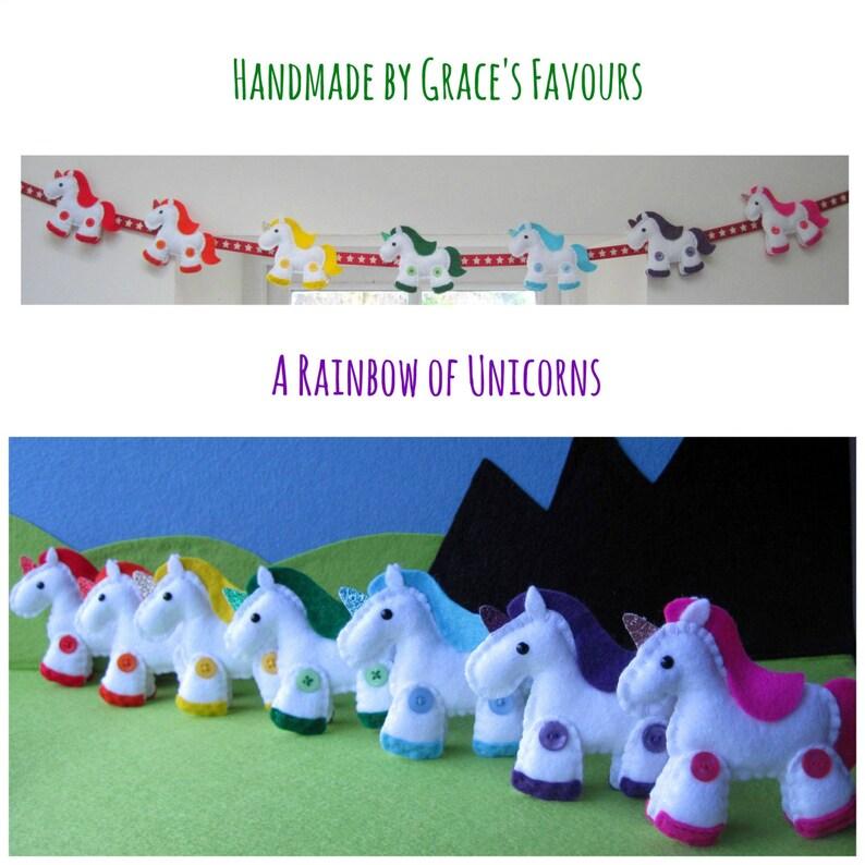 Felt Unicorn Rainbow Plushies with glittery horns