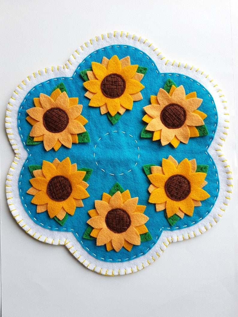 Pdf Pattern Sunflowers Penny Rug Wool Applique Sewing Tutorial Summer Felt Candle Mat Pattern Diy Decoration Holiday Accessory