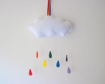 Felt Weather Plushies, Clouds, Rainbow Raindrops Wall Hangings, Nursery Decor, Playroom Wall Hangings