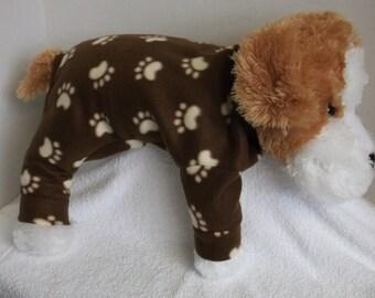 Medium Brown/beige paw prints fleece lounge wear