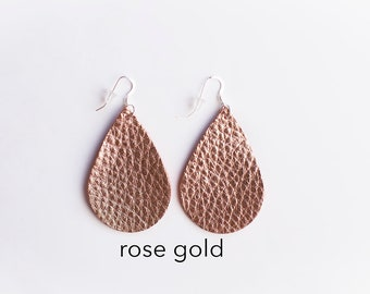 Genuine Leather Earrings, Rose Gold,  Leather Jewelry, Lightweight Leather Earrings, Boho Earrings, Gift for her, Statement Earring,
