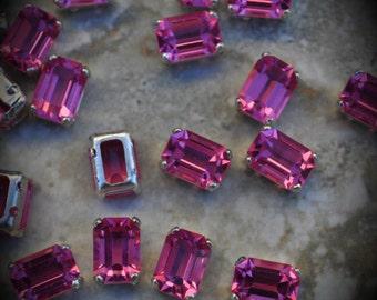 4600 7mm Genuine Swarovski Crystals Rose Octagon Sew On Rhinestones Silver Plated Beads