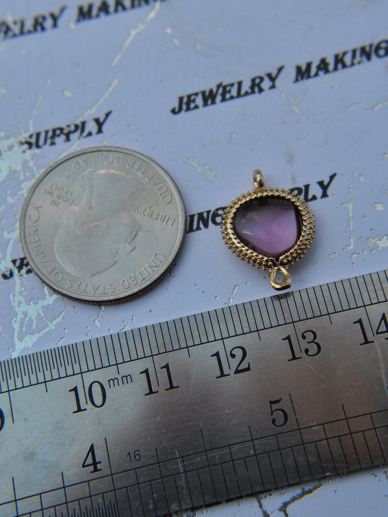 2 Pcs 14k Gold Plated Bezel Brass Smooth Cabochon Glass Briolette Drop 11mm Connector Amethyst