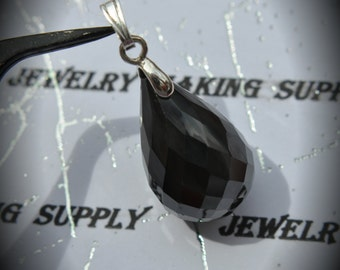 AAA Silver Plated Drop Pendant With Black Cubic Zirconia