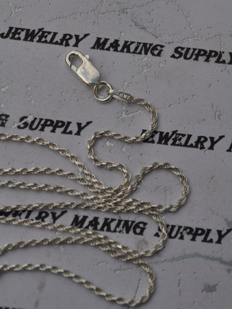 Solid 100/% Genuine Sterling Silver Made In ITALY Rope Chain 18