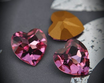A4916 14mm Genuine Swarovski Crystals Rose Heart Rhinestones
