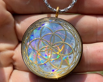 Seed of Life - Sacred Geometry Holographic Orgone Tesla Pendant- EMF Blocker - Chakra Balancing - FREE Necklace - Hand Made