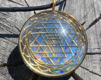 Sri Yantra - Sacred Geometry Holographic Orgone Tesla Pendant- EMF Blocker - Chakra Balancing - FREE Necklace - Hand Made